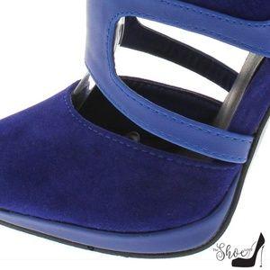 The Shoe Loft Shoes - Diya Royal Blue Cut Out Booties